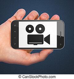 假期, concept:, 照像機, 上, smartphone