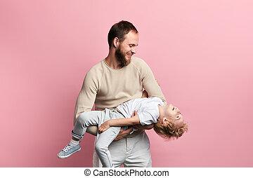 偉人, お父さん, 持つこと, 取得, 子供, 心配, 時間, 彼の