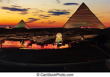 偉人, ギザ, エジプト, enlighted, ピラミッド, 夜