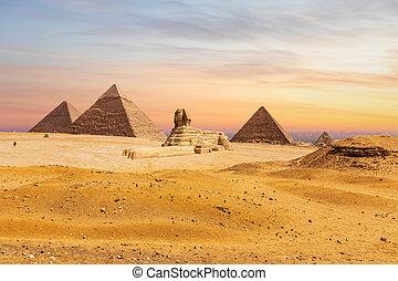 偉人, ギザ, 光景, スフィンクス, 砂漠, エジプト, ピラミッド