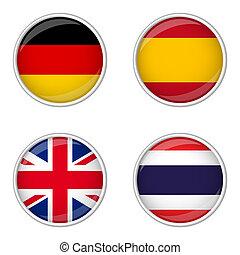偉人, スペイン, ボタン, -, コレクション, タイ, 英国, ドイツ