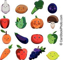 偉人, セット, 野菜, 漫画, 設計された