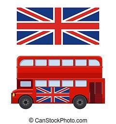 偉人, ダブル, 英国, イラスト, decker, 旗, ベクトル, バス