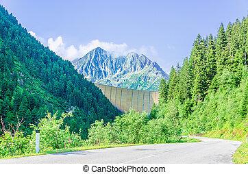 偉人, ピークに達する, ダム, 高く, オーストリア, アルプス