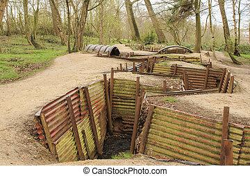 偉人, フィールド, trenches, 1(人・つ), ypres, フランダース, 世界, 戦争
