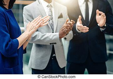 偉人, 仕事, ビジネス, 拍手喝采する, 多人種である, される, チーム, 彼ら自身
