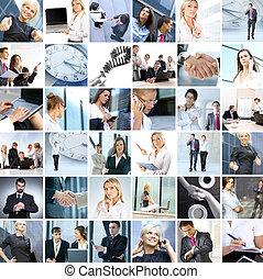 偉人, 作られた, ビジネス, コラージュ, 多数, スタイル, 別, イメージ, について