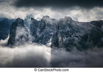 偉人, 光景, の, ∥, 霧が濃い, valley., 位置, 国立公園, tre, cime, ∥ディ∥,...
