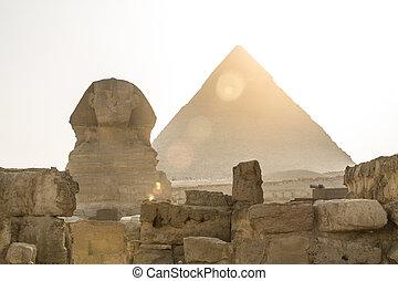 偉人, 古代, エジプト人, sphinx., ピラミッド, ギザ, khafre