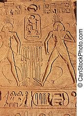 偉人, 古代, 壁, simbel, 寺院, エジプト, hieroglyphics, abu, nubia
