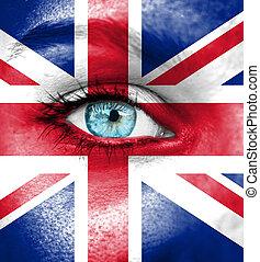 偉人, 女, ペイントされた, 英国, 顔, 旗