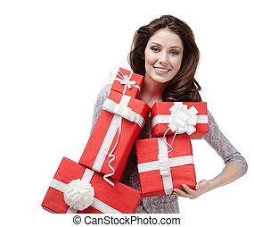 偉人, 女, 贈り物の箱, 量, かなり, 手