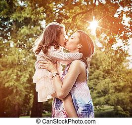 偉人, 娘, 公園, 母, 楽しみ, 持つこと