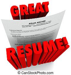 偉人, 履歴書, 成功した, 適用, 言葉, 赤, 3d