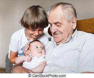 偉人, 彼の, 祖父, 生まれる, 保有物の赤ん坊, 新しい, 女の子, 次に, schoo