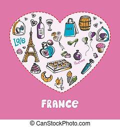 偉人, 有色人種, コレクション, フランス, ベクトル, doodles
