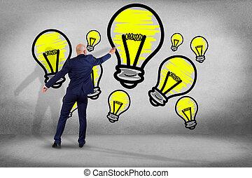 偉人, 概念, 壁, -, 考え, 創造的, 見る, 前部, ビジネスマン