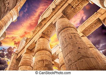 偉人, 雲, 寺院, hypostyle, karnak, ホール