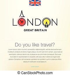 偉人, illustration., ポスター, 旅行, 歓迎, 背景, ベクトル, desing, 英国, ロンドン