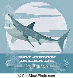 偉人, image., solomon, レトロ, スタイルを作られる, 白, islands., shark.