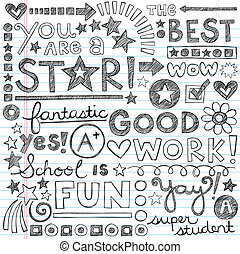 偉大, 工作, 稱讚, 學校, doodles