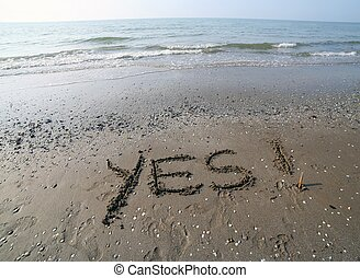 偉大, 題字, 寫, 在沙子上, ......的, the, 海, 由于, the, 詞, 是
