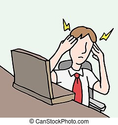 偏頭痛, ビジネスマン, 頭痛