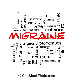 偏頭痛, 単語, 雲, 概念, 中に, 赤, 帽子