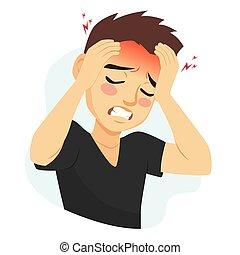 偏頭痛, 苦しみ, 人, 頭痛