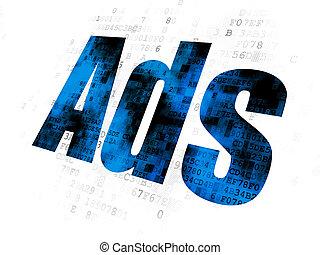 做廣告, concept:, 廣告, 上, 數字的背景