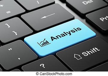 做廣告, concept:, 成長, 圖表, 以及, 分析, 上, 計算机鍵盤, 背景