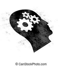 做廣告, concept:, 頭, 由于, 齒輪, 上, 數字的背景
