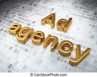 做廣告, concept:, 黃金, 廣告, 代理, 上, 數字的背景