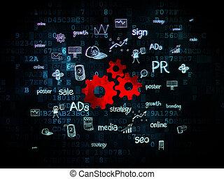 做廣告, concept:, 齒輪, 上, 數字的背景