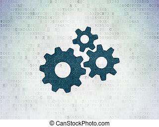 做廣告, concept:, 齒輪, 上, 數字, 數据, 紙, 背景