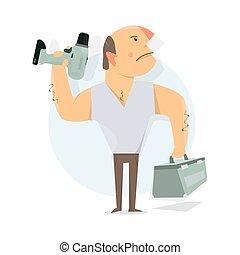 做零活的人, service., 叫, a, repairman., 工人, man.