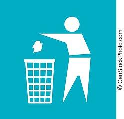 做, 不, 廢棄物, 矢量, 簽署