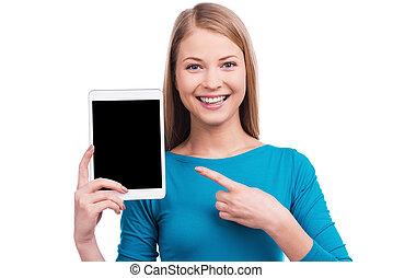 做, 你, 想要, 這樣, tablet?, 美麗, 年輕婦女, 藏品, 數字的藥片, 以及, 指, 上, 它, 當時,...