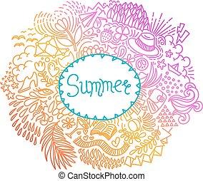 做, 心不在焉地亂寫亂畫, 框架, ornament., 輪, 形狀, freehand, summer., 摘要