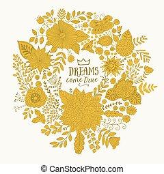 做, 框架, 心不在焉地亂寫亂畫, 花冠, flowers., 矢量, 設計, 環繞