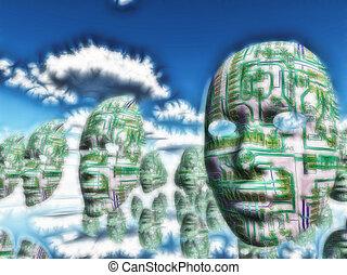 做, 機器人, 夢想, ......的, 電, sheep