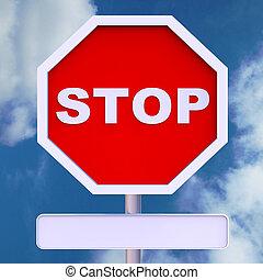 停止签署, 带, 空白, copyspace, 为, 消息