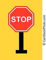 停止簽署, 矢量, 在, 黃色