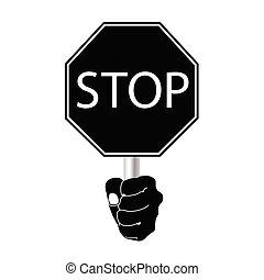停止簽署, 矢量, 在, 黑色