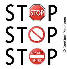 停止簽署, 矢量, 插圖, 在懷特上, 背景