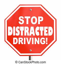 停止, 心煩意亂, 開車, 簽署, 不, texting, 3d, 插圖