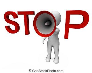 停止, hailer, 顯示, 停止, 警告, 拒絕, 以及, 警告