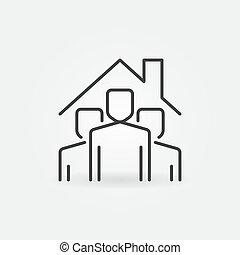 停留, 人們, 在下面, 矢量, 簽署, icon., outline, 家, 屋頂