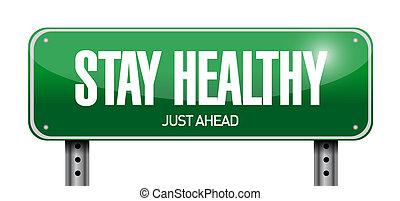 停留, 健康, 路標, 插圖, 設計