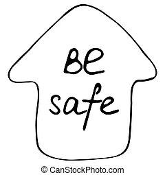 停留, home., 房子, 漂亮, 安全。, 題字, element., 手, 家, 家, 符號, 是, protection., 大流行病, covid-19, 積極, 工作, 畫, doode, 檢疫, coronavirus